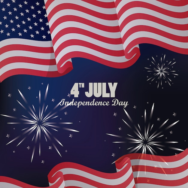 Quatrième Juillet Usa Fête De L'indépendance Avec Drapeau Et Feux D'artifice Vecteur Premium