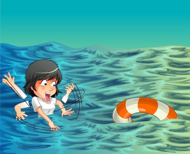 Quelqu'un a besoin d'aide dans l'océan. Vecteur Premium
