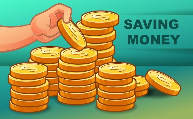 Quelqu'un épargne de l'argent pour la richesse. Vecteur Premium