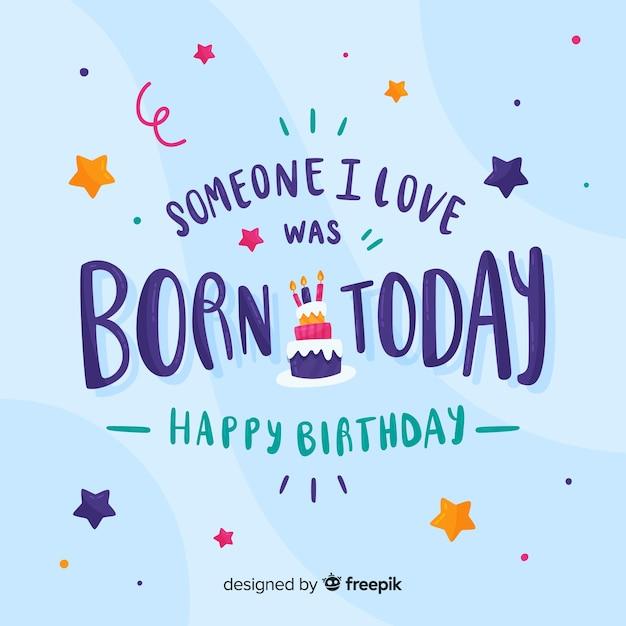 Quelqu'un Que J'aime Est Né Aujourd'hui Carte D'anniversaire Vecteur gratuit