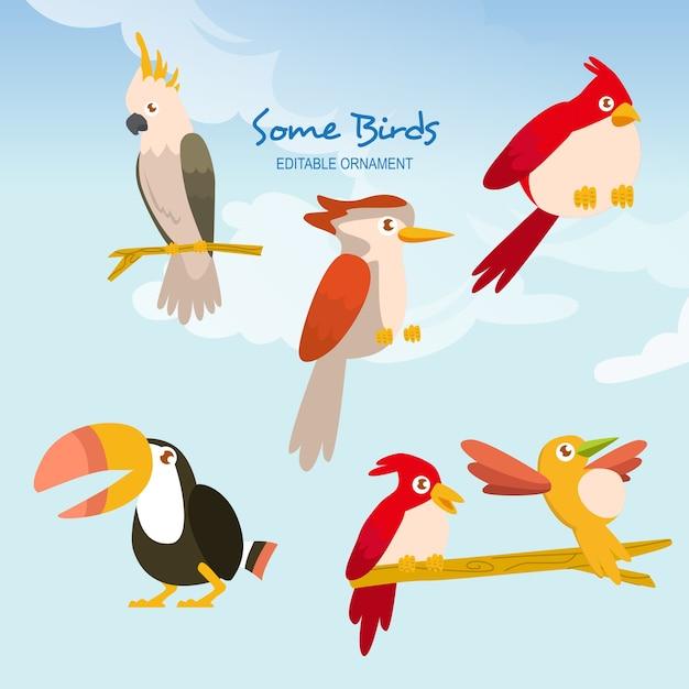 Quelques oiseaux ace Vecteur Premium