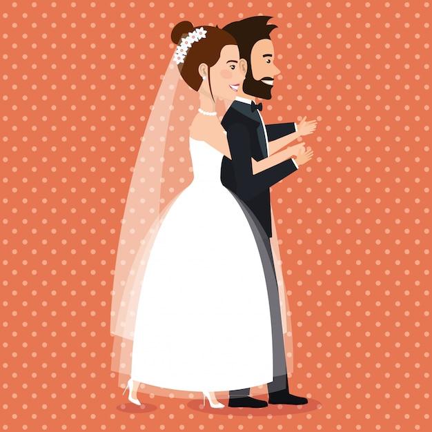 Quelques personnages d'avatars récemment mariés Vecteur gratuit
