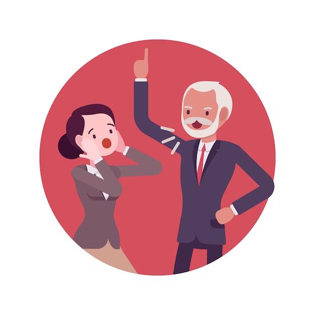Querelle de scène dans le bureau entre le patron et le travailleur Vecteur Premium