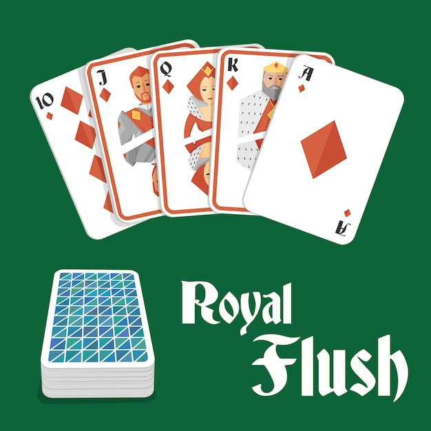 Quinte flush royale au poker Vecteur Premium