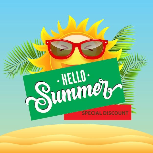 Rabais spécial, bonjour l'été, affiche de vente avec dessin animé souriant soleil en lunettes de soleil Vecteur gratuit