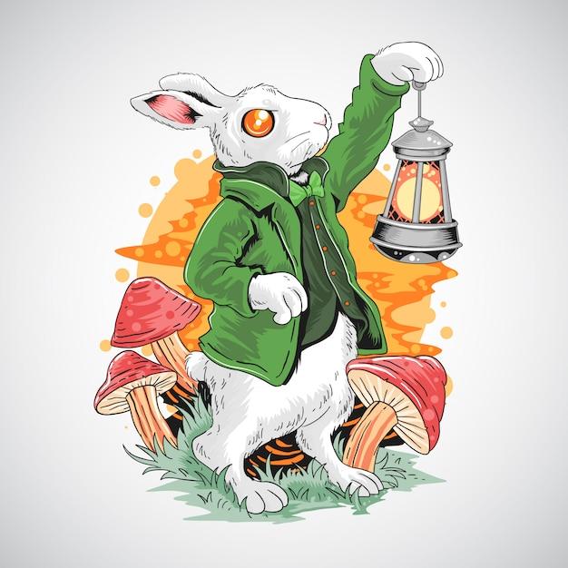 Rabbit easter et st. jour de patricks saison de printemps Vecteur Premium