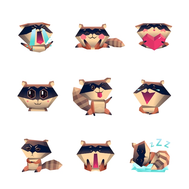 Raccoon cartoon character set Vecteur gratuit