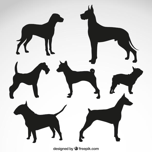 Races de chien silhouettes Vecteur gratuit