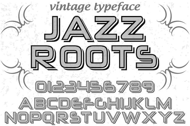 Racines de jazz design étiquette rétro typeface Vecteur Premium