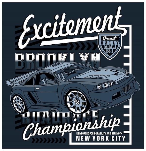Racing art design, illustration graphique vectorielle Vecteur Premium