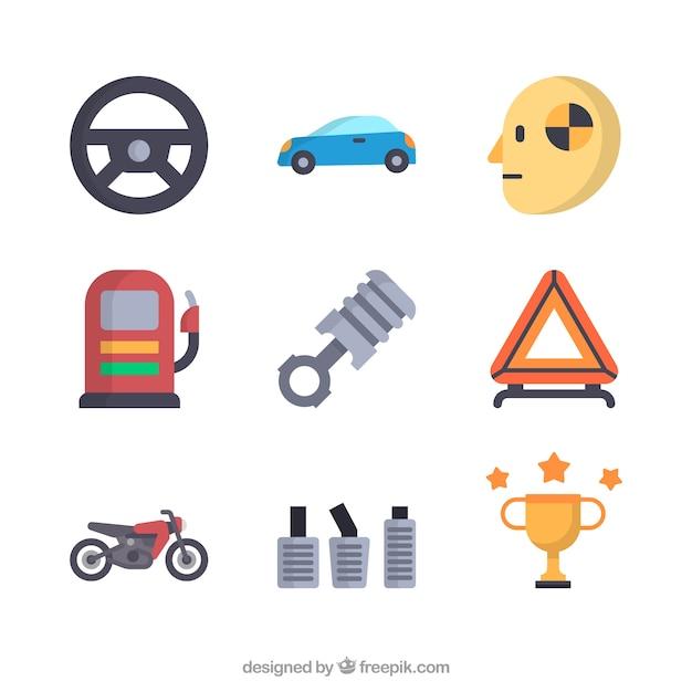 Racing icon set Vecteur gratuit