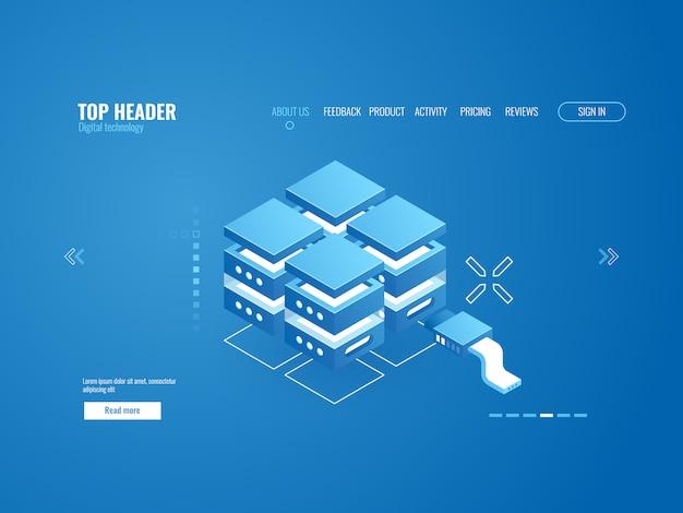 Rack de salle de serveurs, technologie de stockage de données, centre de données, icône de base de données Vecteur gratuit