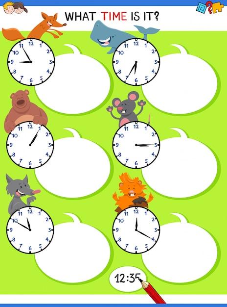 Raconter le temps activité éducative avec des animaux Vecteur Premium