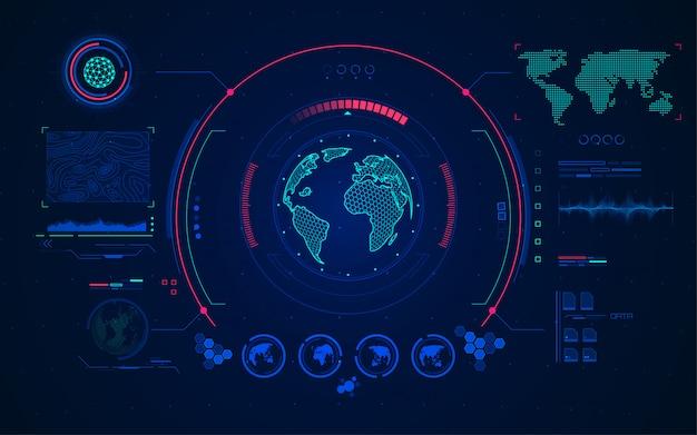 Radar mondial Vecteur Premium