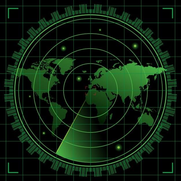 Radar noir et vert Vecteur gratuit