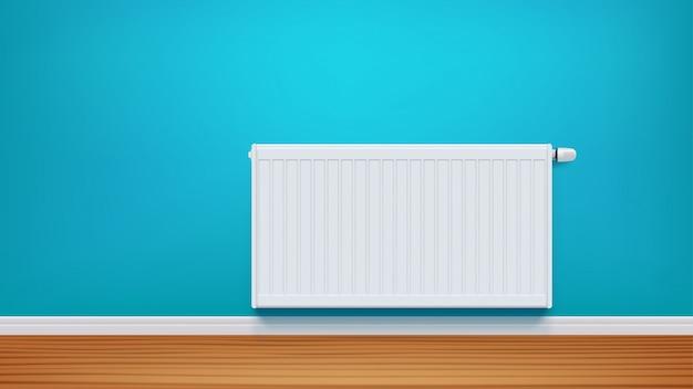 Radiateur Sur Mur Bleu Vecteur Premium