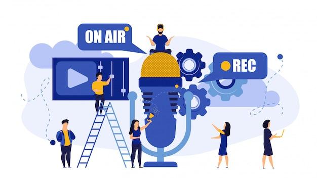 Radio musique tv en direct en direct interview interview personnes. Vecteur Premium