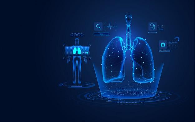 Radiographie médicale des poumons Vecteur Premium