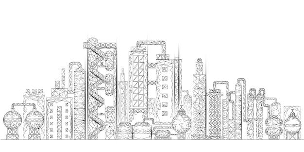 Raffinerie De Pétrole Complexe Concept D'entreprise Low Poly. Usine De Production Pétrochimique Polygonale De L'économie Financière. Industrie Pétrolière En Aval. Solution écologique Blanche Vecteur Premium