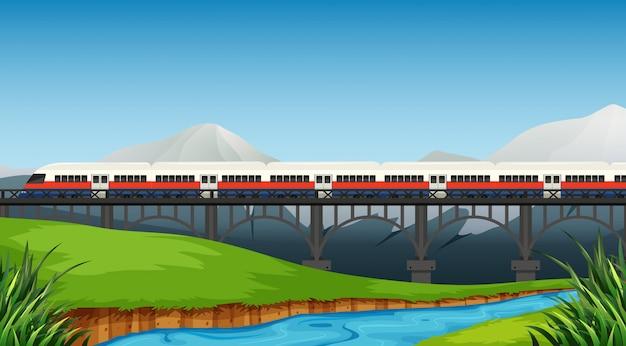 Un rail au paysage rural Vecteur gratuit