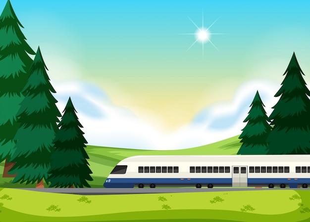 Un rail à la nature Vecteur gratuit