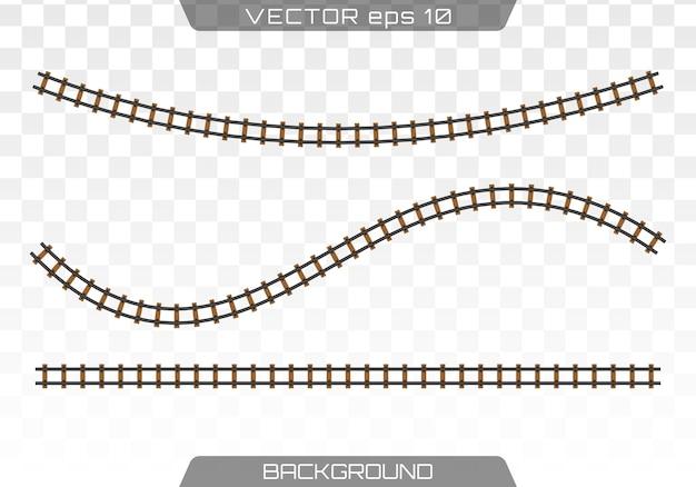 Rails Droits. Concept De Transport Ferroviaire, Métro, Logistique Et Chemin De Fer. Plat. Vecteur Premium