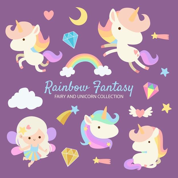 Rainbow fantasy fairy unicorn Vecteur Premium