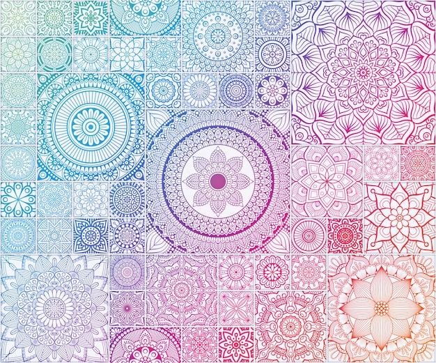 Rainbow Seamless Pattern Seamless Floral Avec Mandala Vecteur gratuit