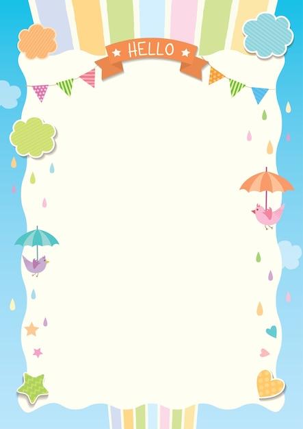 Rainy cute template Vecteur Premium