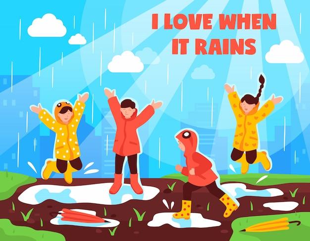 Rainy Day Children Outdoor Vecteur gratuit