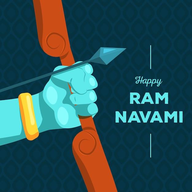 Ram Navami Avec Arc Et Flèche Vecteur Premium