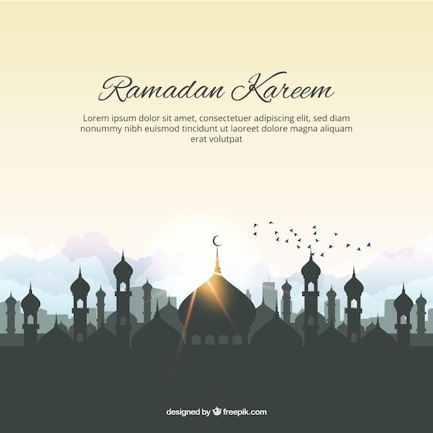 Ramadam kareem fond avec des mosquées et des oiseaux Vecteur gratuit