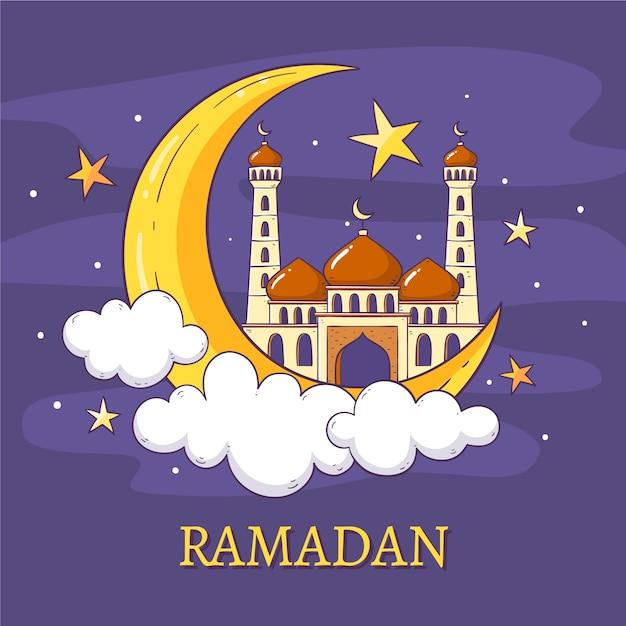 Ramadan Design Dessiné à La Main Vecteur gratuit