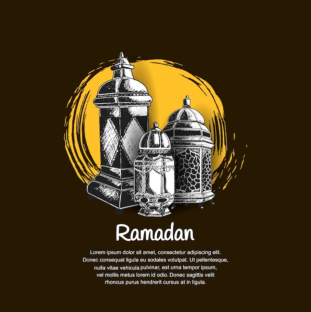 Ramadan design avec lanterne Vecteur Premium