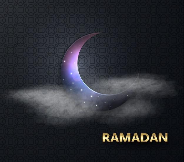Ramadan fête musulmane du mois sacré. nuit de pleine lune. illustration vectorielle de l'espace kareem ramadan Vecteur Premium