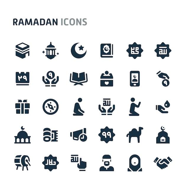 Ramadan Icon Set. Série D'icônes Fillio Black. Vecteur Premium