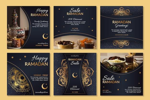 Ramadan Instagram Posts Collection Vecteur gratuit