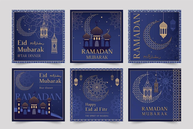Ramadan Instagram Posts Collection Vecteur gratuit