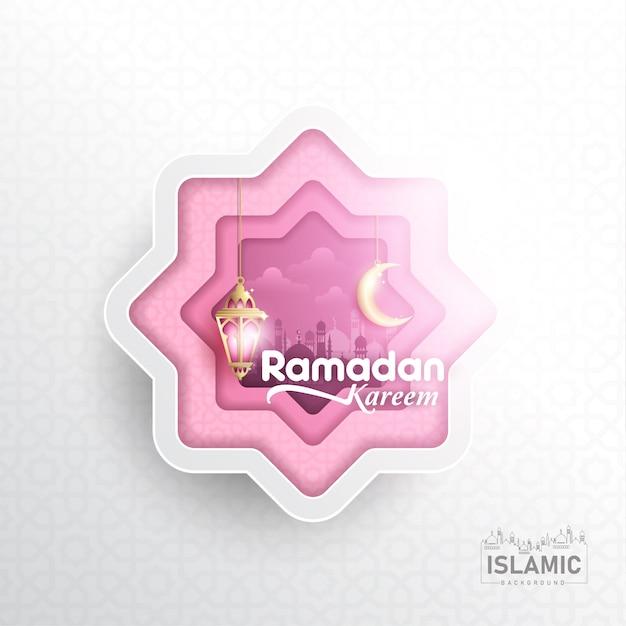 Ramadan kareem background dans l'art du papier ou du papier coupé style vecteur Vecteur Premium