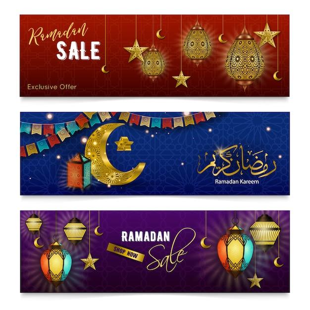 Ramadan kareem bannières réalistes Vecteur gratuit