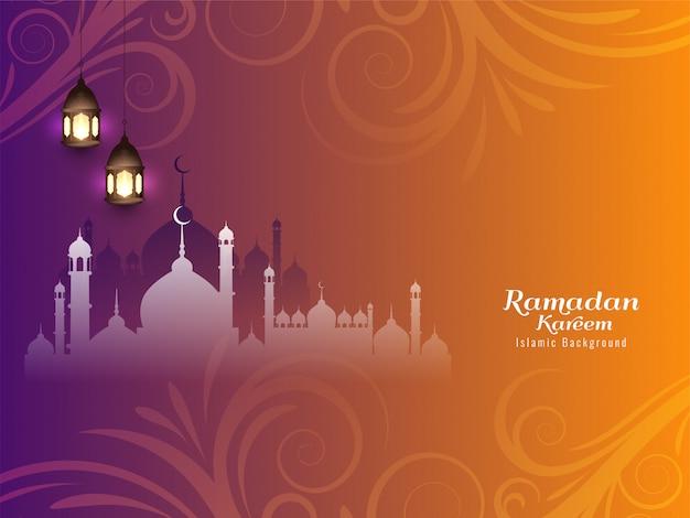 Ramadan Kareem Beau Fond Islamique Vecteur gratuit