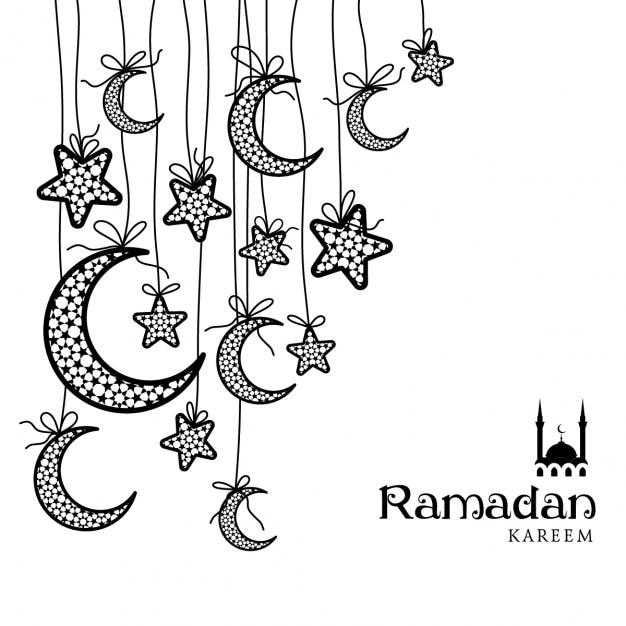 Ramadan kareem carte célébration de voeux décorée de lunes et d'étoiles sur fond blanc Vecteur gratuit