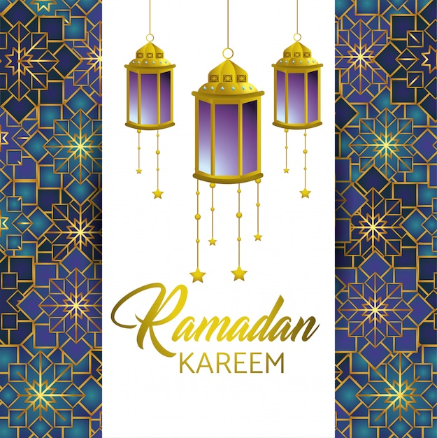 Ramadan karéem et carte avec lampes et étoiles Vecteur gratuit