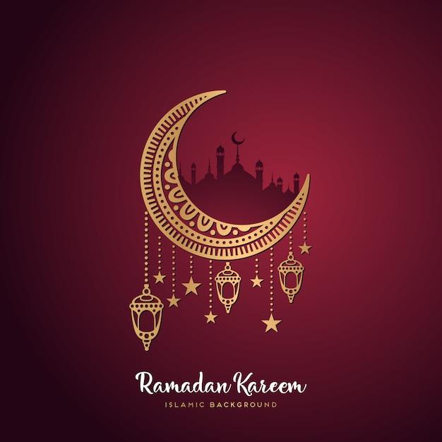 Ramadan kareem carte de voeux Vecteur gratuit