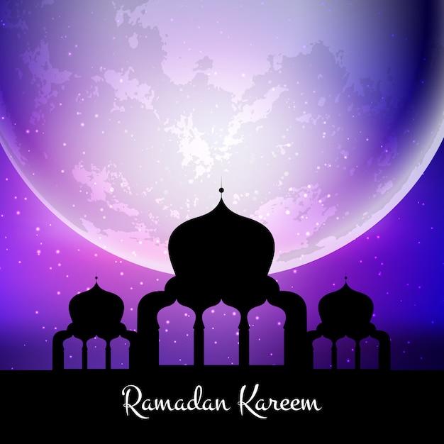 Ramadan kareem fond avec mosquée contre lune Vecteur gratuit