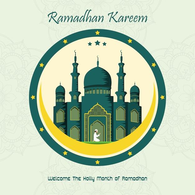 Ramadan Kareem Avec Fond De Mosquée Vecteur Premium