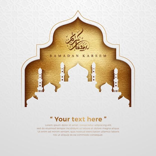 Ramadan Kareem Fond Avec Une Texture Dorée Luxueuse. Vecteur Premium