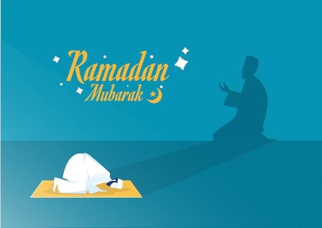Ramadan Kareem Islam Holiday With Shadow Ramadan Taraweeh Prière Soirée Prière Vecteur Premium