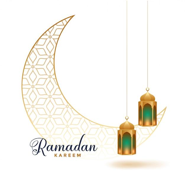 Ramadan Kareem Lune Décorative Avec Lampes Suspendues Vecteur gratuit