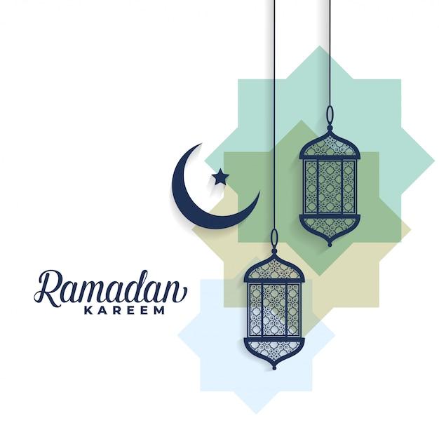 Ramadan kareem lune et fond de lampes arabes Vecteur gratuit